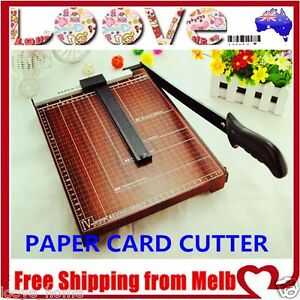 Paper Cutter A4 To B7 Wood Base Guillotine Page Trimmer Knife 12 Sheets Size L