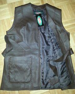 Details zu Designer K. Leder Lang Damen Westeärmellose Jacke 46