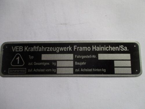 Typenschild s47 Schild Ifa DDR VEB Framo Hainichen