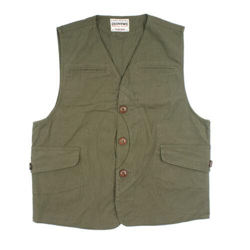 Vintage Men/'s Canvas Multi Pocket Hunting Vest Outdoor Waistcoat Casual Hiking