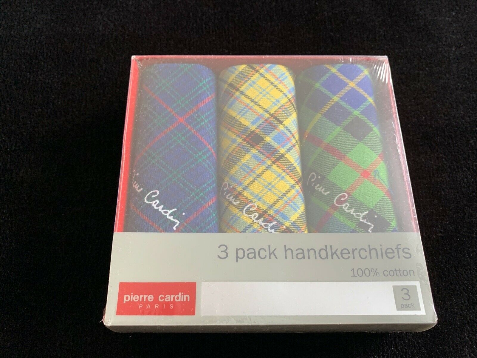 Pierre Cardin Paris Vintage 15 year old handkerchief New In Box. Classic 3pcs.