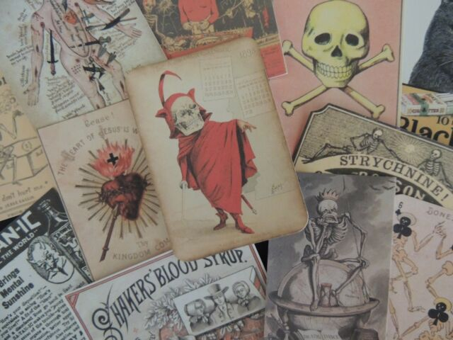 Lot of 12 Vintage DEVILS & SKULLS ODDITIES  Die Cuts 4 CRAFTS - FREE SHIP ~ B17