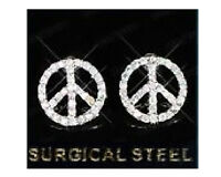 Peace Sign Pierced Earrings Made With Surgical Steel Brand