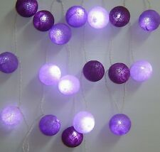 Mixed Purples Cotton Ball BATTERY LED Fairy Lights 20 Light Balls Uses 3 x AA