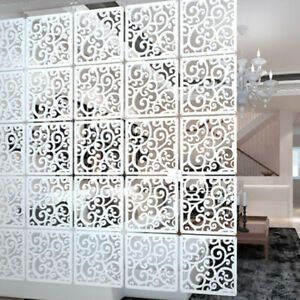 12Pcs-White-Wood-Plastic-Panels-Partition-Hanging-Screen-Divider-DIY-Home-Decor