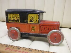 1930-ROSSIGNOL-Biscuit-Truck-Tin-Fire-Truck-Toy-Wind-Up