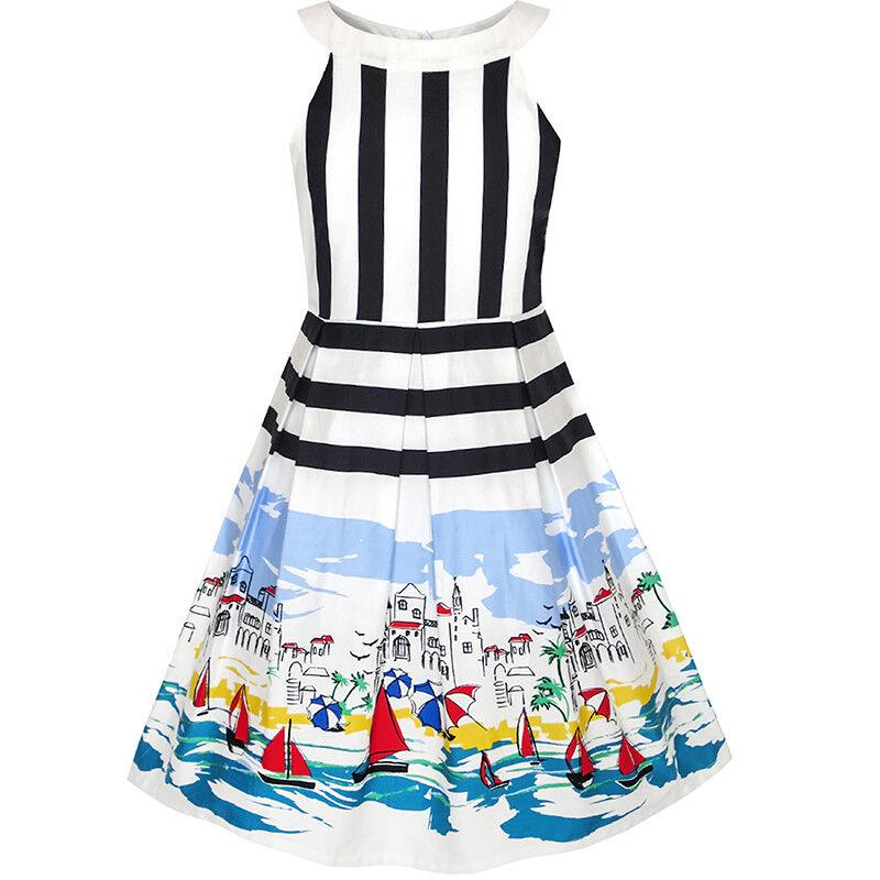 Mädchen Kleid Ozean Segelboot drucken gestreift Halfter kleiden Gr ...