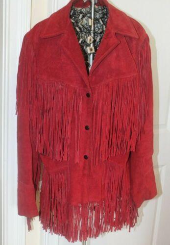 Vintage Red Suede Leather Fringe Jacket Boho Weste
