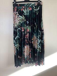 Long-Beautiful-Tropical-Pattern-Pleated-Skirt-F-amp-f-UK-18