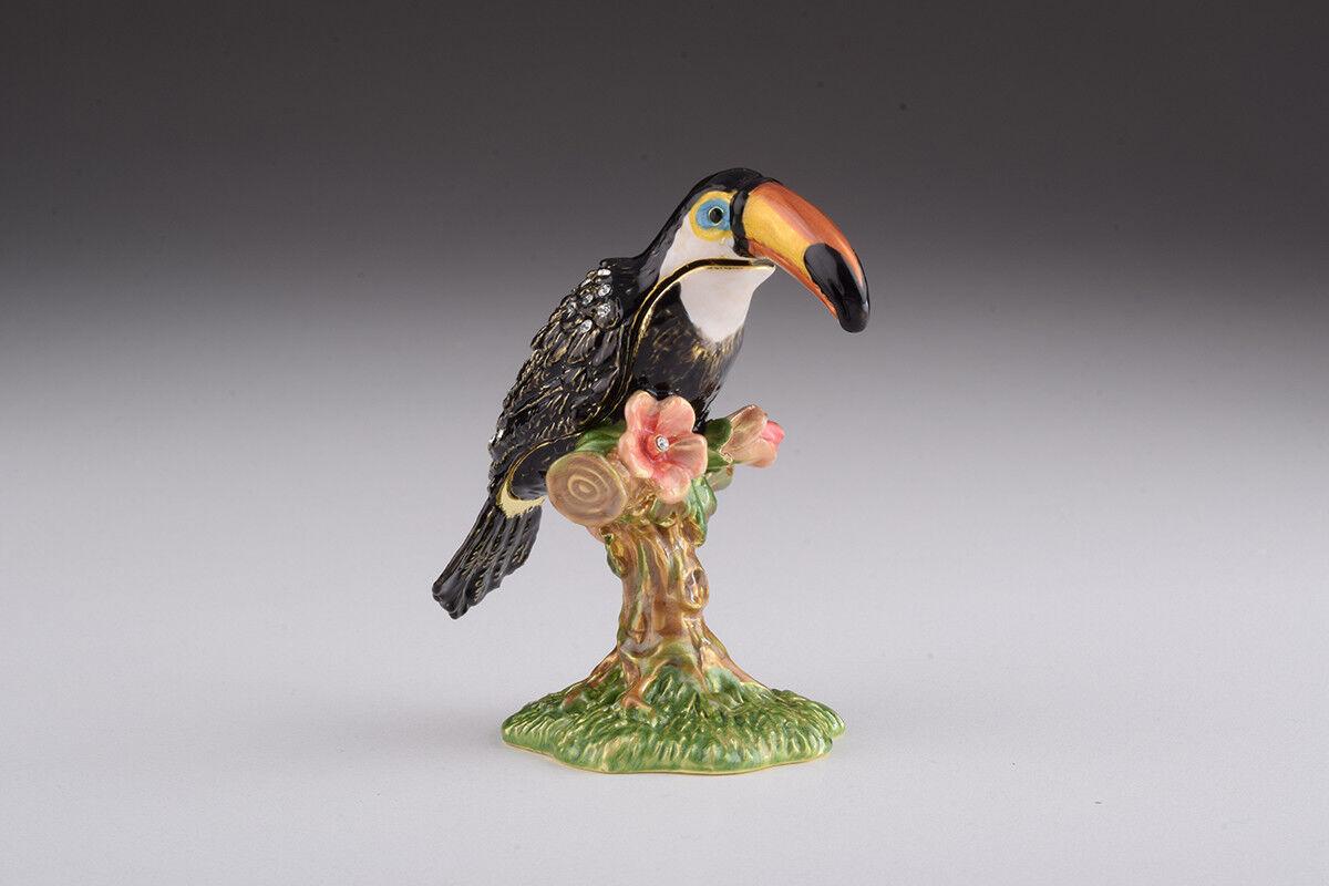 Toucan trinket box hand made by Keren Kopal & Austrian crystals