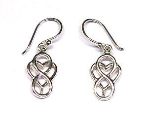 Funky 925 Sterling Silver Open Teardrop Celtic Knot Drop Earrings with Gift Box