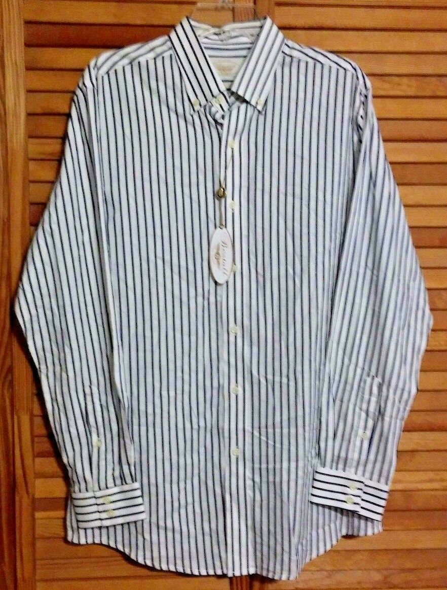 RARE MEN'S BESTALL MAKERS SHIRT MEDIUM STRIPED LONG SLEEVES CLASSIC FIT NEW