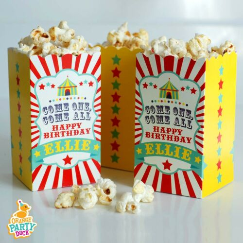 5 X Personalised Circus Showtime Showman Carnival Birthday Party Popcorn Box
