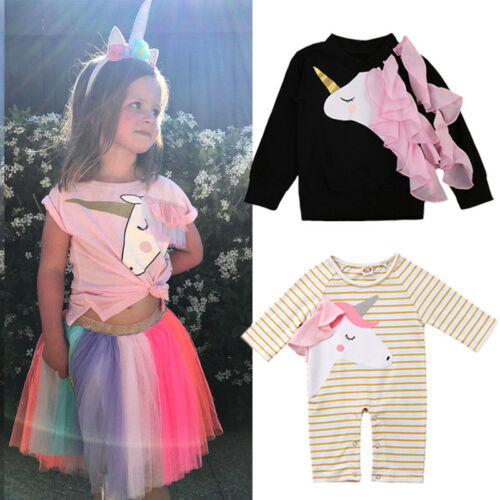 US NEW Unicorn Toddler Baby Girls Cotton Top Romper Pants Skirt Outfits Clothes