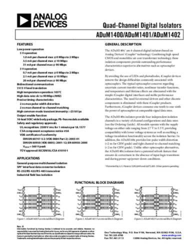 Analog Devices ADUM1402ARWZ Linear IC Digital-Isolator Magnetische Kopplung Un