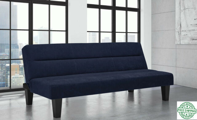 the best attitude 9a870 e9a18 Large Three Seat Wide Futon Sofa Bed Couch Sleeper Convertible Lounger, Blue