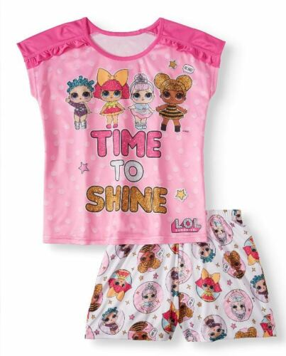 NWT LOL Surprise Time To Shine 2Pc Pink Pajama Set Shirt And Shorts Size 4-12