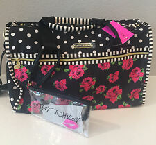 NWT Betsey Johnson Betsey Con Pink roses Black Floral Dots Weekender travel Bag