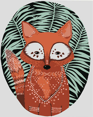 Brick-red Cute Fox Hand Painted Design Needlepoint Canvas #270