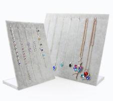 33cm L Shape Gray Velvet Jewelry Necklace Pendant Display Holder Rack 16 Hooks