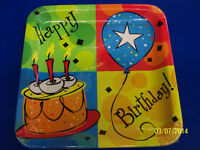Cake Celebration Balloon Adult Kids Birthday Party 10 Square Banquet Plates