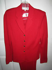 ST JOHN EVENING BY MARIE GRAY - RED SUIT WITH PANTS - SIZE 4 - MINT
