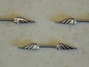 316l surgical steel nipple bar with angel wings ebay for Angel wings nipple piercing jewelry