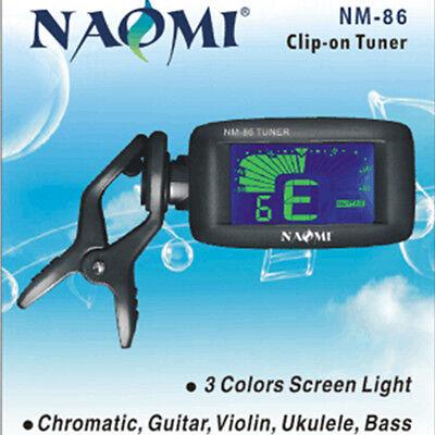 NM-86  LCD Clip On Digital Chromatic Guitar Bass Violin Ukulele Tuner W/Battery