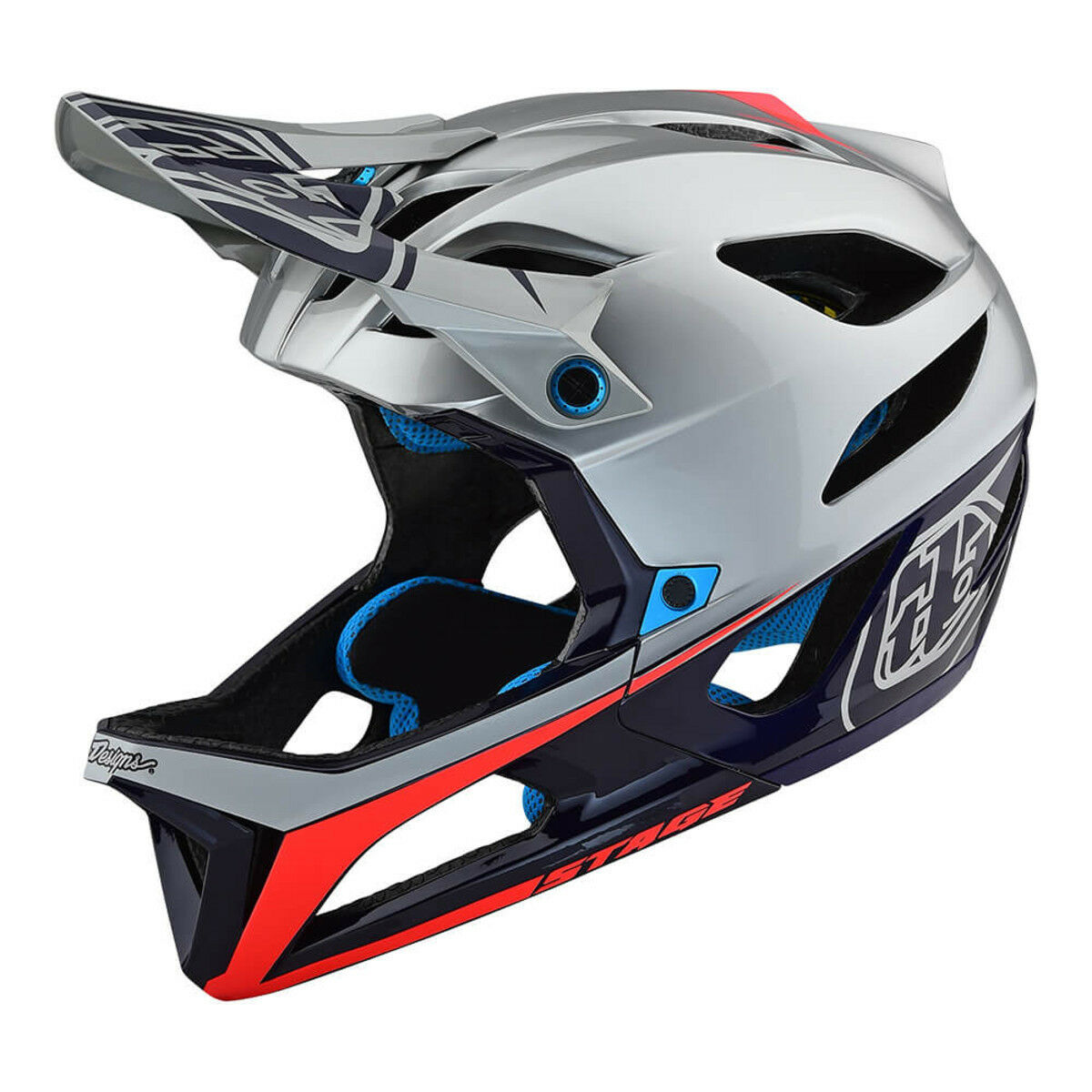 Troy Lee Designs MIPS Casco Race plata Stage Azul Marino Talla Md LG