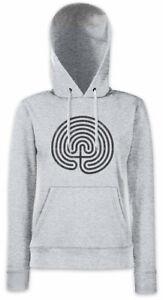 Cretan-Maze-Damen-Hoodie-Kapuzenpullover-Labyrinth-Hypnosis-Hypnotize-Spiral