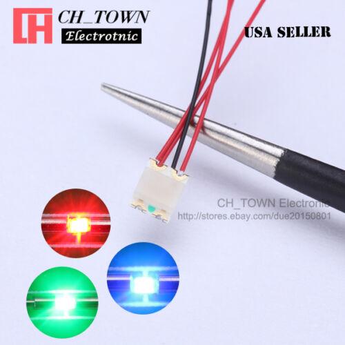 10PCS pre wired 1206 3227 SMD RGB Rouge Vert Bleu Lumière pré-soudé à diodes DEL