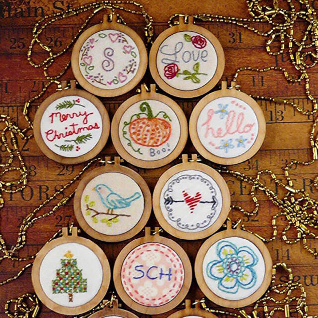 DIY Round Mini Wooden Cross Stitch Embroidery Hoop Ring Frame Machine Fixed xc