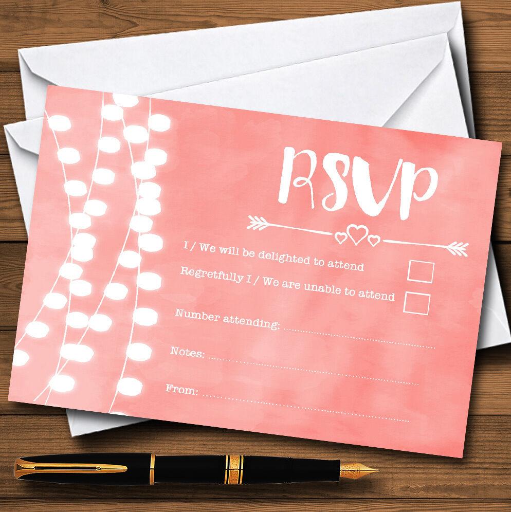 CORALLO rosa CARDS LUCI Acquerello Personalizzati RSVP CARDS rosa 50425a
