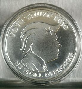 Donald Trump 1 Oz 999 Silver Shield Republican Democrat
