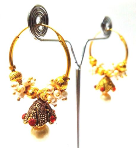 Golden Oxidized Earring Jhumka Jhumki Bali Drop Dangle Hoop Long Jewelry C47