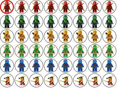 48 Lego Ninjago Wafer Paper Party Cupcake/Fairy Cake Toppers 3cm | eBay