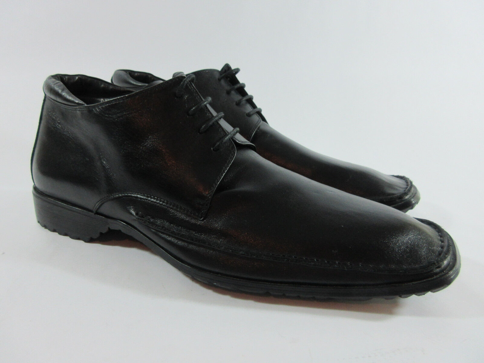 Escoda Mens Size 44 Oxfords Handmade Black Leather Lace Up Side Zip shoes