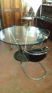 Bellissimo tavolo rotondo vintage SPACE AGE in cristallo acciaio e ...