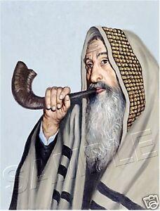 RABBI SHOFAR PRAYER SHAWL TALLIT JEWISH JUDAICA ART