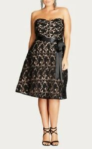 CITY-CHIC-Dress-Plus-Size-XL-22-Black-Lace-Strapless-Cocktail-Evening-Diamante