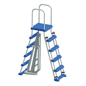 Swimline-87950-Above-Ground-Pool-A-Frame-Ladder-with-Barrier-for-48-Inch-Pools