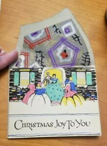 Vintage-Antique-ARTISTIC-Christmas-Card-Money-Holder-UnUsed