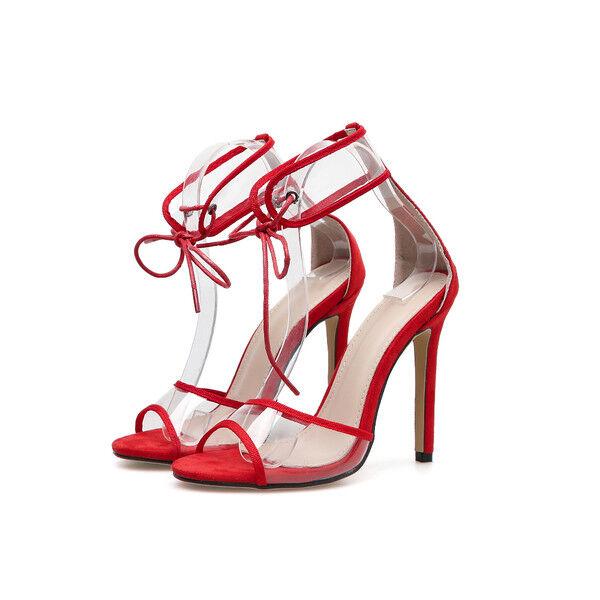 Sandali stiletto 11 cm rojo trasparente spillo tacco simil pelle pelle pelle eleganti 1764  entrega de rayos
