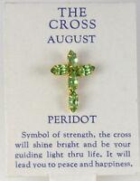 6030265 August Peridot Cz Birthstone Cross Lapel Pin Christian Tie Tack Brooch on sale