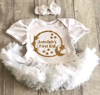 Gold Personalizzato Prima Eid Baby Girl's Tutu Romper Vestito Neonato Regalo Ramadan-