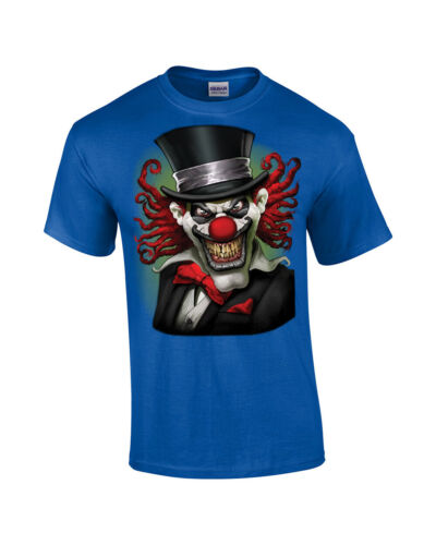 Crazy Clown Scary Movie  T Shirt With A Top Hat Tee Apparel Halloween