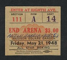 RARE MSG 1948 boxing ticket Flakes Lee Oma Raadik Hursey Felton Murray Morganti