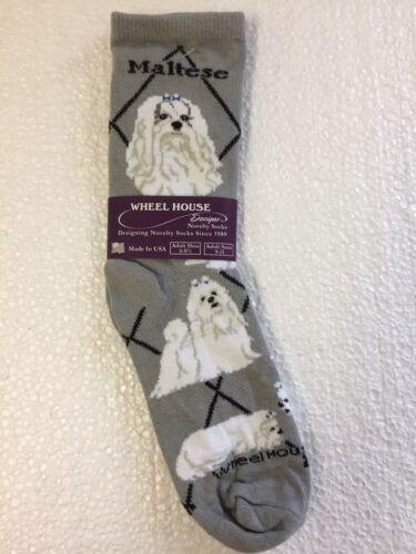 Wheel House Designs Maltese Dog Novelty Crew Adult Socks Gray New