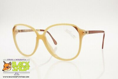 Silhouette 1065/2 084 Vintage Women's Eyeglasses Frame, Beige & Caramel Colors Fabbricazione Abile