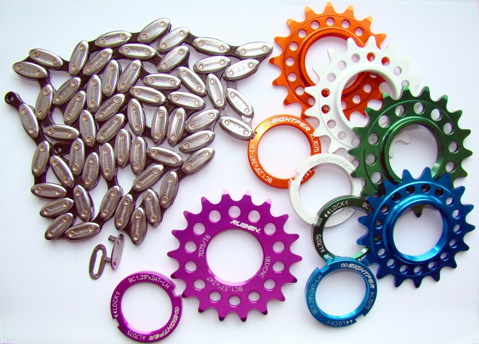 Set chain SHIMANO CN-NX01 + COG CNC 7075 Blau 17T + Lock ring fixed gear fixie